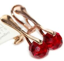 Siam Briolette Clip On Rose Gold Crystal Earrings From Swarovski®