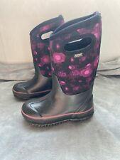 BOGS Girl's Kids Classic Watercolor Winter Boots Size 11 Floral Black Purple