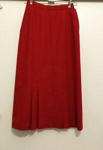 Geoff Riddell skirt size 8, straight red skirt 100% WOOL