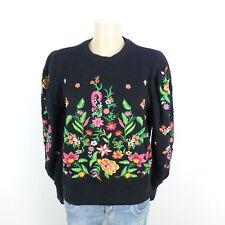 ZARA Sweat Pull Tricot Fleurs Floral Noir Taille M 38 (bd28)