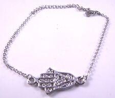 Hamsa Pulsera De Plata Encanto Mal de Ojo Amuleto Kabbalah Mano de Fatima Judaica