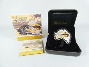 2014 Australian Map Shape Saltwater Crocodile 1oz Fine Silver Proof Coin Box COA