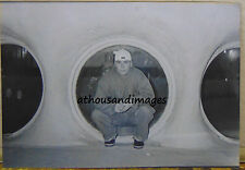 Vtg 80's Photo of Man Posing By Port Holes At The Las Vegas Glass Pool Inn V17