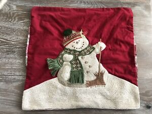 """POTTERY BARN MELTING SNOWMAN CREWEL EMBROIDERED XMAS PILLOW COVER 18"""""""