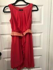 Iz Byer Girl Size 14 Coral Belted Sleeveless Dress Euc Ruffle Pleated Lined