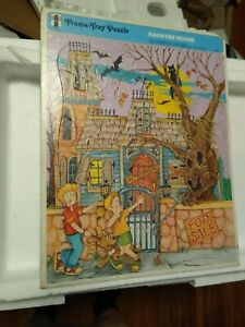 1989 Haunted House Rainbow Works Frame Tray Vintage Puzzle 75901-5 Halloween