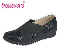 SALE LADIES E Fit Slip On Crossover Wedge Shoes - Black Suede - Size 3 4 5 6 7 8