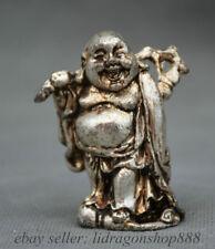 """2 """"Vieux Bouddhisme de la Chine Argent Joyeux Rire Maitreya Bouddha Statue"""