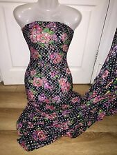"""1 MTR BLACK/PINK FLORAL LYCRA STRETCH LACE FABRIC...60"""" WIDE"""