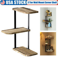 3 Tier Corner Shelf Wall Mount Rustic Wood Floating Display Storage Shelves Rack