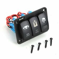 Rupse Marine Boat Car DV Switch Panel 3 Gang 2 Charger+4USB Slot Blue LED light
