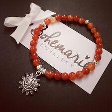 Naranja ágata Sun pulsera con dijes De Piedras Preciosas Joyería Boho de Verano Bijoux