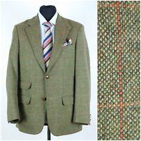 Mens WALBUSCH Size UK 42R Green Check Windowpane Tweed Sport Coat Blazer Jacket