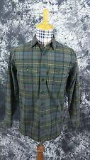 Mens S L.L. Bean green plaid button front shirt small