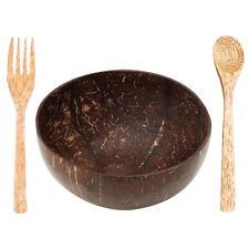 3 Pieces Set Natural Coconut Bowl Wooden Fruit Bowl Handicraft Decoration Bowl