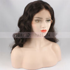 "Women Full Lace Wig Indian Remy Human Hair Body Wave Baby Hair 22"" 2# Long Wavy"