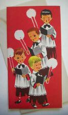 Black eye choir boys 50's Mcm vintage Christmas greeting card unused *7B