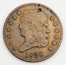 "1828 United States ""Classic Head"" Half Cent, 13 Stars, Very Fine, Holed."