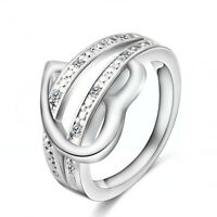 Size 6-10 Heart Zircon Crystal Engagement Ring Women's 925 Silver Wedding Band