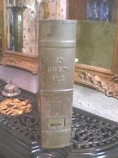 1950's / 80 SAMSOM FILE, VERTICAL HINGED TIN FAUX BOOK BOX By Eagle Lock
