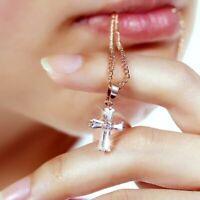 Kreuz Kette Gold Edelstahl Silber Kreuzkette Halskette Kreuz Anhänger Damen