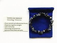 Snowflake Obsidian Bracelet GEMSTONE Crystal Beads Stretch 'buy 3 Get 1 '