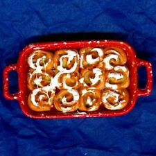 Dollhouse Red Spatterware Pan Filled w Cinnamon  Buns 1:12 Doll House Miniatures