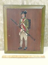 Vintage OIL PAINTING of REVOLUTIONARY SOLDIER On WOOD Panel,A.Newton,1964