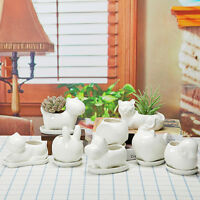 Dog Animal Ceramic Succulent Plant Flower Pot Planter Garden Office Desk Decor