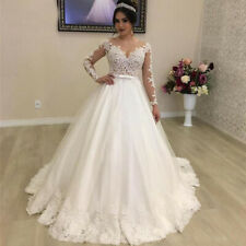 Lace Princess Ball Gown Wedding Dresses Long Sleeves Country Bridal Dress Custom