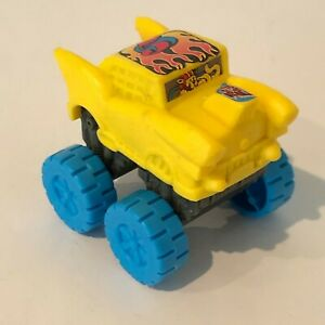 Vintage 1995 Wendys Mega Wheels Car Hot Rod Plastic Yellow Car Blue Wheels
