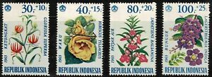 Indonesia 1965 Flowers Surtaxed - Set Of Four Stamps - MLH