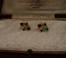 Vintage Deco Style Emerald, Peridot Green Square Crystal Pierced Earrings