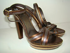Salvatore Ferragamo Metallic Pewter Gold Block High Heel Sandals Shoes 8.5 $1075