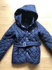 BENETTON Navy Blue Quilted Kids Jacket With Detachable Hood Size 3 Years