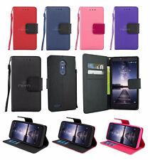 For ZTE Zmax Pro Z981 Leather Wallet Flip Case Cover w/ Card Holder & Strap