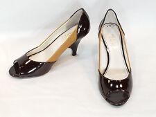 "Size 6.5M Two Toned Brown Leather Peep Toe Pump Franco Sarto 3"" Heel"