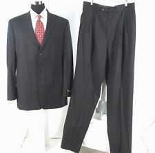 Alberto Zimni Suit Sz 44XL Black Stripe All Season Wool Blazer Pant 38W Mens NWT
