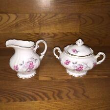 Hutschenreuther Germany INGEBORG Red Floral ~ Creamer & Sugar Bowl ~ Excellent