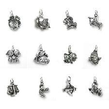 925 Sterling Silver 12 Styles Zodiac Horoscope Star Dangle Charm Pendant