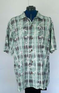 Tommy Bahama Mens Bianco Bamboo Bala Shark Hawaiian Shirt 100% Silk Large