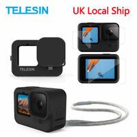 TELESIN 3PCS Tempered Glass Film + Rubber Case + Lens Cap+For GoPro Hero 9 Black