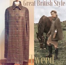 CAPE COAT VINTAGE TWEED WOOL SIZE 12 UK SHERLOCK VICTORIAN LONG REVERSIBLE BROWN