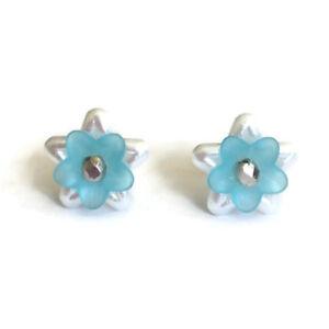 Handmade Aqua & White Lily Flower Stud Earrings