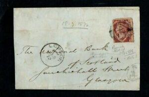 1872. WRAPPER. QV THREE HALFPENCE RED. LONDON-GLASGOW. 'GLYN' (BANK) PERFIN.