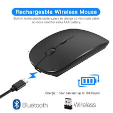 Wireless Mouse Computer Bluetooth Silent PC Rechargeable 2.4Ghz USB Optical lap
