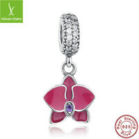 Free Shipping 925 silver Orchid Enamels Dangle Charm Fit Women Authentic Jewelry