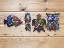SET OF 4 Wooden Hand Carved & Painted Aboriginal Dot Painted Plaques 15cm!