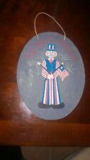 "Uncle Sam Hand painted Art Concrete Slab Decorative ""God Bless America"" July 4th"