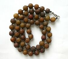 More details for double length carved serpentine shou bead necklace